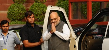 New Delhi: Union Home Minister Amit Shah arrives to attend the first cabinet meeting after taking oath, at South Block in New Delhi on May 31, 2019. (Photo: IANS)