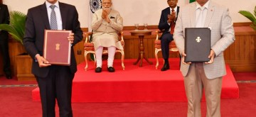 Male: Prime Minister Narendra Modi and Maldives President Ibrahim Mohamed Solih witness exchange of agreements in Male, on June 8, 2019. (Photo: IANS/MEA)