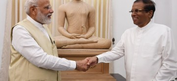 Colombo: Sri Lanka President Maithripala Sirisena gifts a Buddha statue in meditation posture to Prime Minister Narendra Modi in Colombo, Sri Lanka on June 9, 2019. (Photo: Twitter/@PMOIndia)