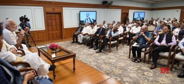 New Delhi: Prime Minister Narendra Modi interacts with the Secretaries to the Government of India at LokKalyan Marg in New Delhi on June 10, 2019. (Photo: IANS/PIB)