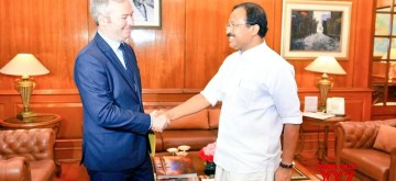 New Delhi: Minister of State for External Affairs, V. Muraleedharan meets French Minister of State for Europe and Foreign Affairs, Jean Baptiste Lemoyne in New Delhi on June 10, 2019. (Photo: IANS/MEA)