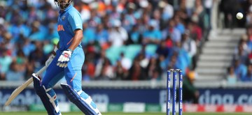 London: India's Shikhar Dhawan in action during the 14th match of 2019 World Cup between India and Australia at Kennington Oval in London on June 9, 2019. (Photo: Surjeet Yadav/IANS)