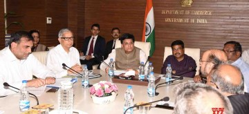 New Delhi: Union Railways and Commerce and Industry Minister Piyush Goyal and Union Petroleum and Natural Gas and Steel Minister Dharmendra Pradhan during a meeting with the Steel Manufactures' Association, in New Delhi on June 11, 2019. (Photo: IANS/PIB)
