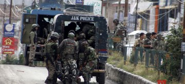 Anantnag: Soldiers at the site where two masked militants in a car attacked a joint party of local police and the CRPF in K.P.Road area of Anantnag on June 12, 2019. (Photo: IANS)