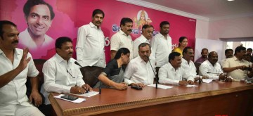 Hyderabad: Congress MLAs who joined TRS addresses a press conference in Hyderabad on June 12, 2019. (Photo: IANS)