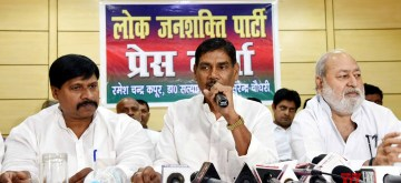 Patna: Former Lok Janshakti Party (LJP) leader Satyanand Sharma addresses a press conference to announce his new party LJP (Secular) after resigning from LJP, in Patna on June 13, 2019. BJP ally and NDA constituent Lok Janshakti Party of Union Minister Ram Vilas Paswan faces a split with the resignation of senior party leader and General secretary Satyanand Sharma along with several party postholders who formed a new party LJP (Secular). (Photo: IANS)