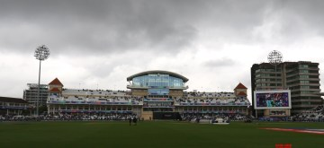 Nottingham: Dark clouds hover over Trent Bridge Cricket Ground where the 18th Match of World Cup 2019 between India and New Zealand was scheduled to take place but has been delayed due to rains in Nottingham, England on June 13, 2019. (Photo: Surjeet Yadav/IANS)