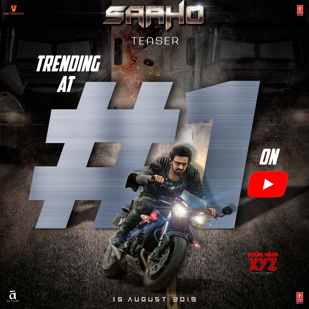 Saaho Teaser Now Trending At 1 On YouTube India