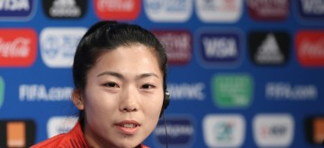 PARIS, June 12, 2019 (Xinhua) -- Chinese player Gu Yasha of China attends the official press conference one day ahead of the group B match between South Africa and China at the 2019 FIFA Women's World Cup in Paris, France, June 12, 2019. (Xinhua/Xu Zijian/IANS)