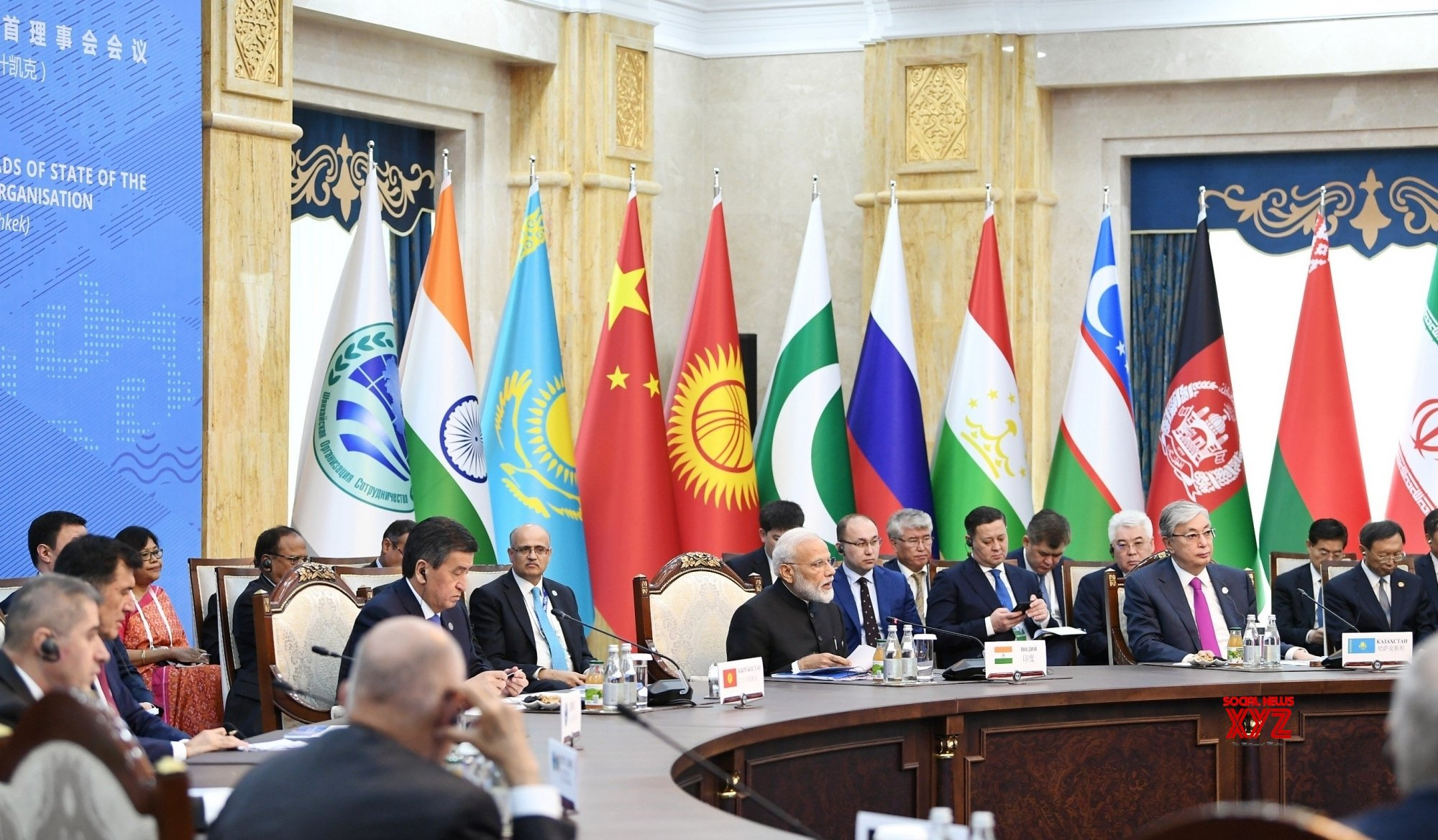 Bishkek (Kyrgyzstan): PM Modi at the delegation level meeting of 2019 SCO Summit #Gallery