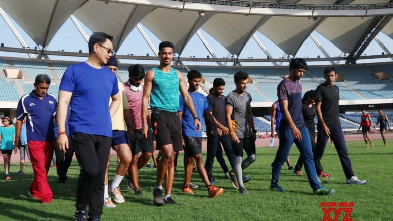 Rijiju meets athletes for morning jog, breakfast