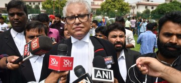 "New Delhi: Lawyer Anand Grover who was representing Naz Foundation against Section 377 - the penal provision which criminalised gay sex - talks to the media after the Supreme Court in a landmark decision decriminalised homosexuality by declaring the section as ""manifestly arbitrary""; in New Delhi on Sept 6, 2018. (Photo: IANS)"