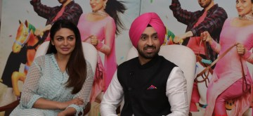 "New Delhi: Actors Diljit Dosanjh and Neeru Bajwa during the promotion of their upcoming film ""Shadaa"", in New Delhi on June 18, 2019. (Photo: Amlan Paliwal/IANS)"
