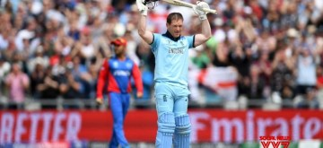 Manchester: England skipper Eoin Morgan celebrates his century during the 24th match of 2019 World Cup between England and Afghanistan at Old Trafford in Manchester, England on June 18, 2019. (Photo Credit: Twitter/@ICC)