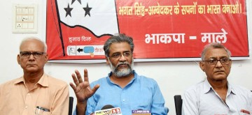 Patna: CPI-ML National General Secretary Dipankar Bhattacharya addresses a press conference, in Patna, on June 18, 2019. (Photo: IANS)