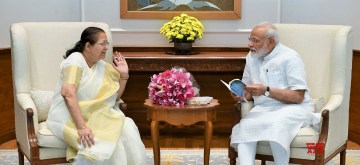 New Delhi: Former Lok Sabha Speaker Sumitra Mahajan meets Prime Minister Narendra Modi, in New Delhi on June 18, 2019. (Photo: IANS/PIB)