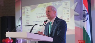 New Delhi: US Ambassador to India Kenneth Ian Juster addresses during a programme organised by Indo-American Chamber of Commerce to celebrate US Independence Day in New Delhi on June 24, 2019. (Photo: IANS)