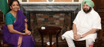 New Delhi: Punjab Chief Minister Amarinder Singh calls on Union Finance and Corporate Affairs Minister Nirmala Sitharaman, in New Delhi on June 28, 2019. (Photo: IANS/PIB)