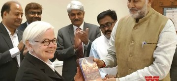 London: Haryana Technical Education Minister Ram Bilas Sharma, who is leading a high-level delegation to London, presents a copy of the Bhagavad Gita to University of London Worldwide Pro Vice-Chancellor (International) and Chief Executive Prof. Mary Stiasny, in London on July 3, 2019. (Photo: IANS)