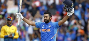 Leeds: India's Rohit Sharma celebrates his century during the 44th match of World Cup 2019 between India and Sri Lanka at Headingley Stadium in Leeds, England on July 6, 2019. (Photo: Surjeet Yadav/IANS)