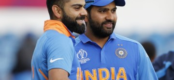 Leeds: India's Virat Kohli and Rohit Sharma after winning World Cup 2019 match against Sri Lanka at Headingley Stadium in Leeds, England on July 6, 2019. (Photo: Surjeet Yadav/IANS)