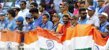 Leeds: Indian fans during the 44th match of World Cup 2019 between India and Sri Lanka at Headingley Stadium in Leeds, England on July 6, 2019. (Photo: Surjeet Yadav/IANS)