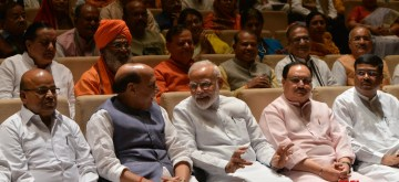 New Delhi: Prime Minister Narendra Modi with Union Ministers Thawar Chand Gehlot, Rajnath Singh, Dharmendra Pradhan and BJP Working President J.P. Nadda during the BJP Parliamentary Party meeting at Parliament, in New Delhi, on July 9, 2019. (Photo: IANS) Attachments area