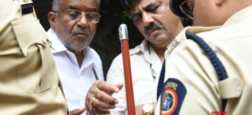 "Mumbai: Karnataka Ministers D. K. Shivakumar and G.T. Devegowda arrive to meet the 10 Congress-Janata Dal (Secular) rebel MLAs at a five-star hotel in Mumbai on July 10, 2019. Shivakumar who arrived here early on Wednesday, was greeted with slogans of ""Go Back"" by the legislators who refused to meet him. (Photo: IANS)"