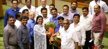 Porvorim: BJP MLA Rajesh Patnekar who was elected as Speaker of the Goa Assembly, defeating former Chief Minister Pratapsingh Rane of the Congress by 22-16 votes, with Goa Chief Minister Pramod Sawant, Deputy Speaker Michael Lobo and opposition leader Chandrakant Kalekar, at the Goa Assembly in Porvorim on June 4, 2019. (Photo: IANS)