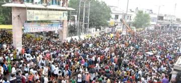 Govardhan: Devotees circumambulate Govardhan Hill during Mudiya Mela near Mathura on July 14, 2019. (Photo: IANS)