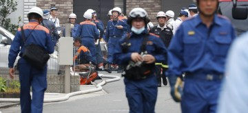 TOKYO, July 18, 2019 (Xinhua) -- Firefighters are seen at the scene of the anime studio blaze in Kyoto, Japan, July 18, 2019. The death toll of an anime studio blaze in Kyoto, Japan, on Thursday has risen to 33, with 36 others injured, some suffering from severe burns or bleeding, local police and rescuers said. (Kyodo News via Xinhua/IANS)