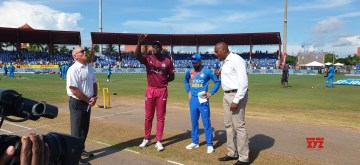 Lauderhill: Indian captain Virat Kohli and West Indies captain Carlos Brathwaite during the toss ahead of the the first T20 international between India and West Indies at the Central Broward Regional Park Stadium in Lauderhill, Florida on Aug 3, 2019. (Photo: Twitter/@BCCI)