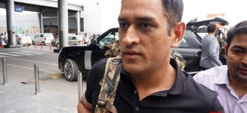 New Delhi: Indian cricketer M.S. Dhoni leaves for Srinagar from Indira Gandhi International Airport in New Delhi, on July 30, 2019. Indian cricketer Mahendra Singh Dhoni, who was awarded the honorary rank of a lieutenant colonel in 2011, will join his battalion in Jammu and Kashmir. He will be with the 106 Territorial Army battalion (Para) from July 31 to August 15. (Photo: IANS)
