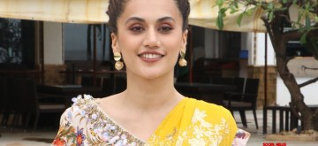 """Mumbai: Actress Taapsee Pannu during the promotions of her upcoming film """"Mission Mangal"""" in Mumbai on Aug 7, 2019. (Photo: IANS)"""