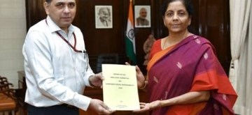 Chandigarh: Corporate Affairs Secretary Injeti Srinivas submits the Report of the High-Level Committee on CSR to Union Finance and Corporate Affairs Minister Nirmala Sitharaman, in New Delhi on Aug 13, 2019. (Photo: IANS/PIB)