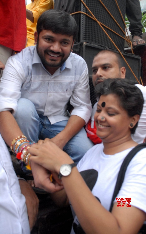Kolkata: Kanhaiya Kumar during Raksha Bandhan celebrations #Gallery