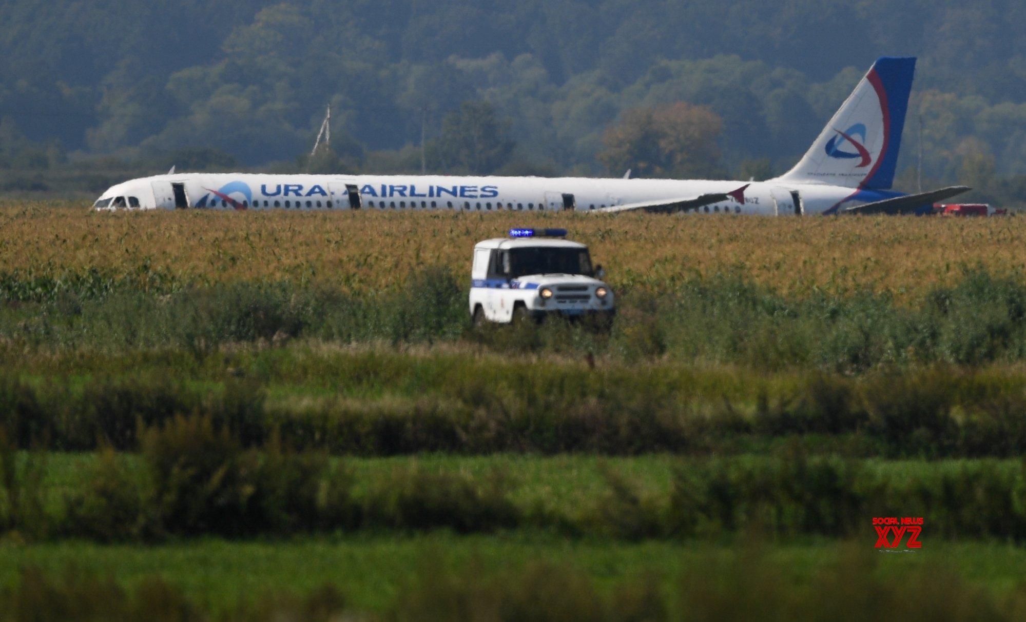 55 injured as Russia jet crash-lands in cornfield