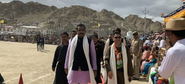 Ladakh BJP MP Jamyang Tsering Namgyal and party Ram Madhav during 73rd Independence Day celebrations, in Ladakh on Aug 15, 2019. (Photo: Twitter/@MPLadakh)