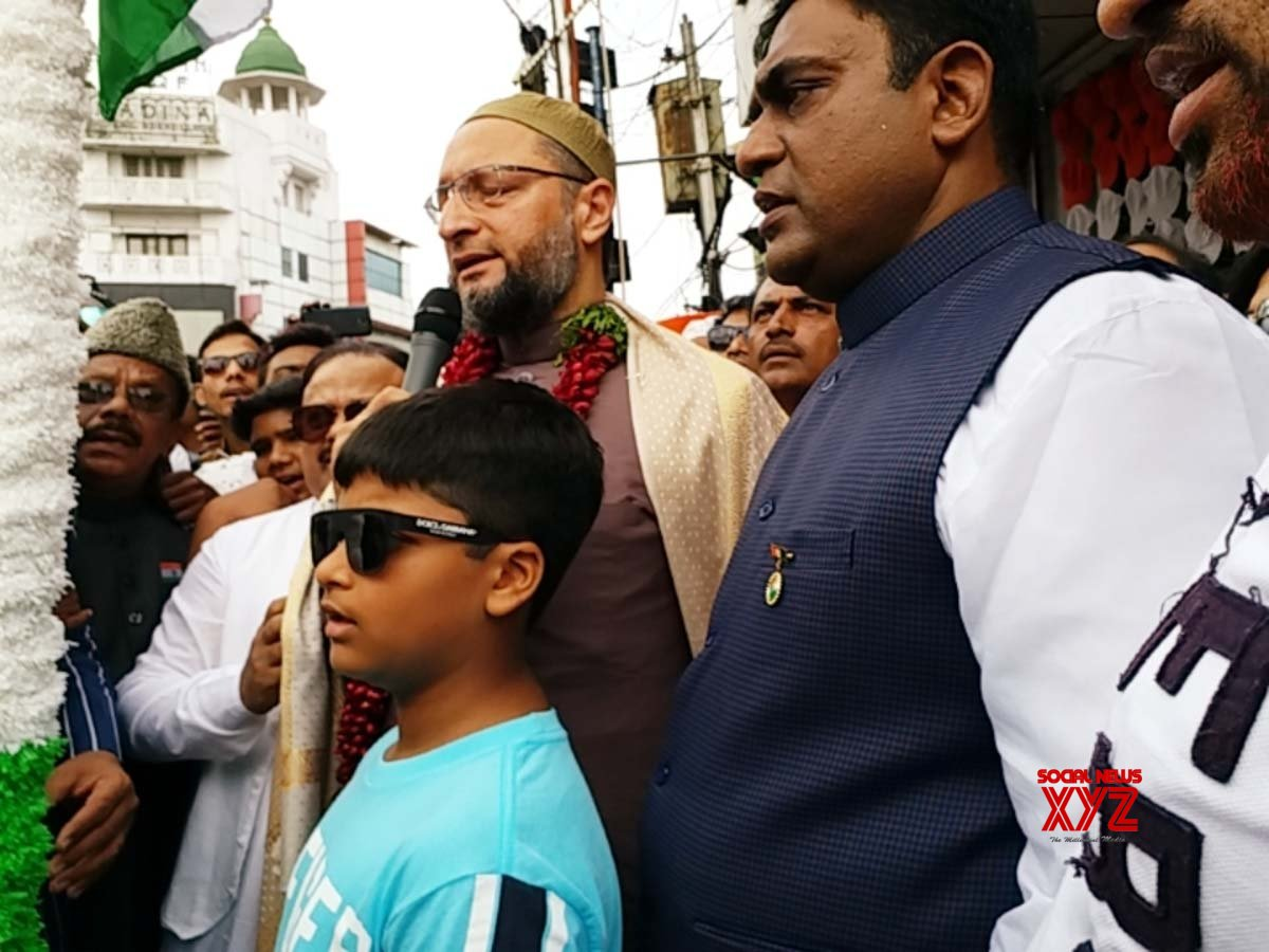 Hyderabad: Asaduddin Owaisi celebrates 73rd Independence Day #Gallery
