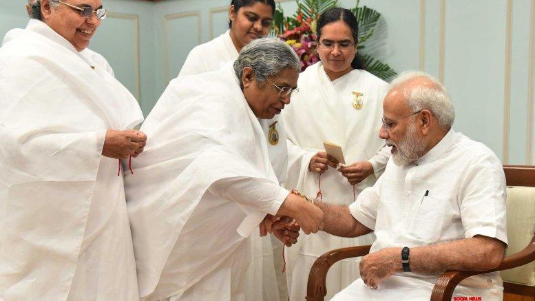 Children, women tie 'rakhi' to PM Modi