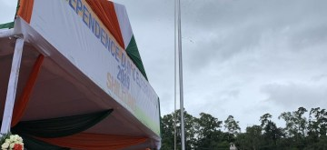 Shillong: Meghalaya Chief Minister Conrad Sangma unfurls the Tricolor on the 73rd Independence Day at Polo Grounds in Shillong on Aug 15, 2019. (Photo: IANS)