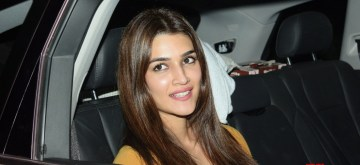 "Mumbai: Actress Kriti Sanon arrive at the screening of ""Mission Mangal"" in Mumbai on Aug 14, 2019. (Photo: IANS)"