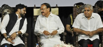 Kolkata: Vice President M. Venkaiah Naidu with West Bengal Governor Jagdeep Dhankhar and Union Minister Babul Supriyo during a programme organised on the first death anniversary of Former Prime Minister Atal Bihari Vajpayee, in Kolkata on Aug 16, 2019. (Photo: IANS)