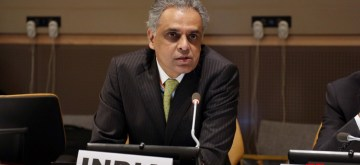 New York: United Nations (UN) Ambassador Syed Akbaruddin addresses at UN Conference on Environment, in New York on June 5, 2018. (Photo: Mohammed Jaffer/IANS)