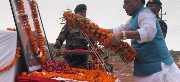 Pokhran: Defence Minister Rajnath Singh pays tributes to Former Prime Minister Atal Bihari Vajpayee on his first death anniversary, in Rajasthan's Pokhran on Aug 16, 2019. (Photo: IANS/RMO)