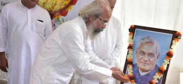 Bhubaneswar: Union Minister Pratap Chandra Sarangi pays tributes to Former Prime Minister Atal Bihari Vajpayee on his first death anniversary, in Bhubaneswar on Aug 16, 2019. (Photo: IANS)