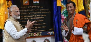 Thimphu: Prime Minister Narendra Modi and Bhutan Prime Minister Lotay Tshering jointly inaugurate the Mangdechu Hydroelectricity Project in Thimphu, Bhutan on Aug 17, 2019. (Photo: IANS/PIB)