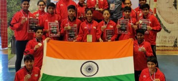 Vrbas: India's junior women boxers completed their campaign with four gold, four silver and four bronze medals at the 3rd Nation's Cup in Vrbas, Serbia on Aug 18, 2019. While the contingent won the Runners-up trophy, India's 48kg gold medallist Tamanna, who blanked Russia's Alena Tremasova 5-0 in the final, picked up the coveted 'Best Foreign Boxer' award. The other three gold medals were brought by Ambeshori Devi in 57 kg, Preeti Dahiya in 60 kg and Priyanka in 66 kg. Manipur's Ambeshori and Haryana's Dahiya continued their fine runs from the Black Forest Cup in June to secure a hard-fought 3-2 win over Sweden's Duna Sipel and Ukraine's Kristina Kartavtseva respectively. (Photo: IANS)