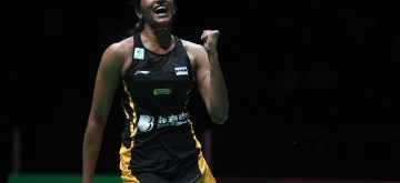 BASEL, Aug. 25, 2019 (Xinhua) -- India's Sindhu Pusarla V. celebrates during the women's singles final match against Japan's Okuhara Nozomi at the BWF Badminton World Championships 2019 in Basel, Switzerland, Aug. 25, 2019. (Xinhua/Li Jundong/IANS)