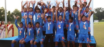 Kalyani: The Indian U-15 team celebrates after beating Nepal 7-0 to lift the SAFF U-15 2019 Championship title at the Kalyani Stadium in Kalyani, West Bengal on Aug 31, 2019. (Photo: IANS)